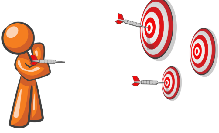 An animation of a person throwing darts.